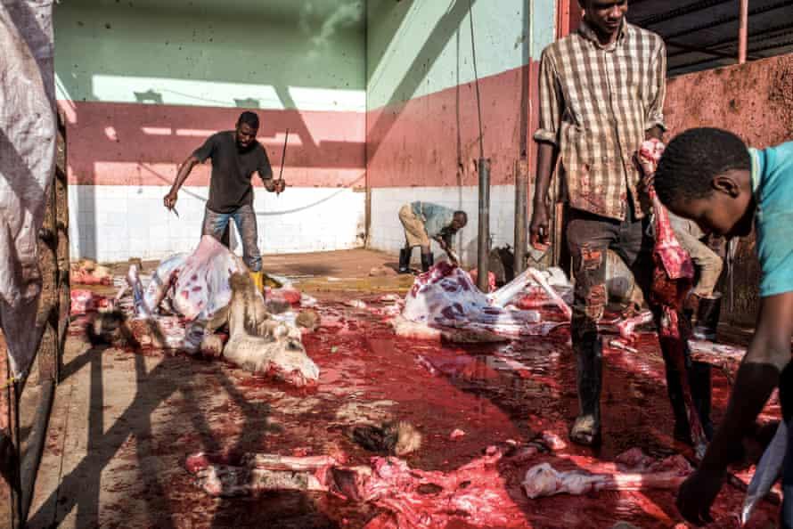 Haratine workers in the Tanwich slaughterhouse in Nouakchott