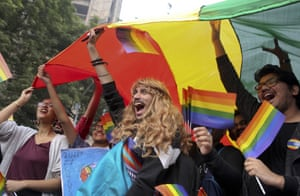Participants displays a rainbow flag and cheer as gay rights activists and their supporters march during a gay pride parade in New Delhi