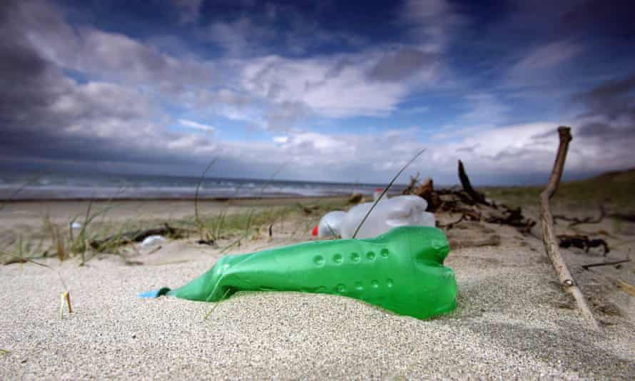 Plastic bottles and general rubbish washed up by the sea on the beaches at Prestwick, Scotland.