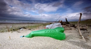 Plastic bottles litter the beaches in Prestwick, Scotland