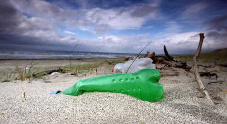 Plastic bottles litter the beaches in Prestwick, Scotland