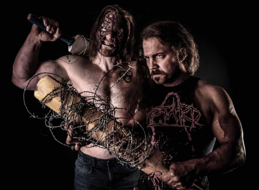 Krackerjak the wrestler (right) with another wrestler