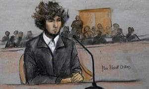 Court sketch of Boston marathon killer Dzhokhar Tsarnaev at a pre-trial hearing in June 2015