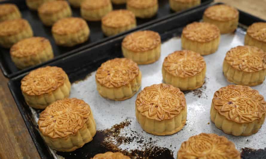 Freshly baked lotus-shaped mooncakes with salted egg yolks from Saikoh in Yokohama, Japan in September 2020.