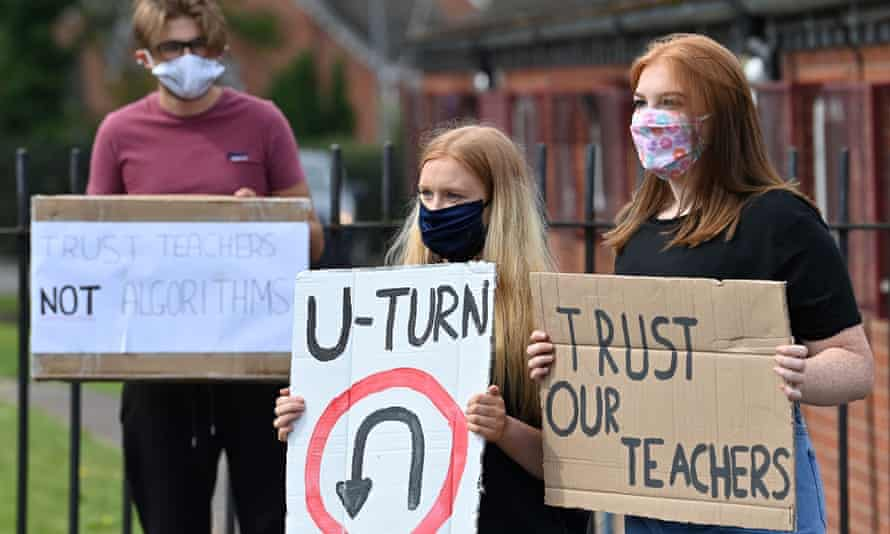 Students at a school near Wolverhampton protest against the downgrading of A-level results in August.