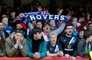Blackburn Rovers fans look dejected after relegation is confirmed at Brentford