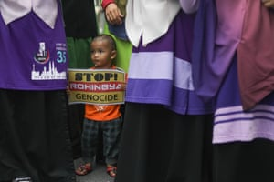 Rohingya rally in Kuala Lumpurepa06171138 A child holds a placard reading 'Stop Rohingya Genocide' as he joins a demonstration of Myanmar ethnic Rohingya Muslims in Kuala Lumpur, Malaysia, 30 August 2017. More than 1,000 Myanmar ethnic Rohingya Muslims gathered in Kuala Lumpur to protest against the Myanmar regime, which according to the group it reportedly continues to persecute the ethnic minority. EPA/FAZRY ISMAIL