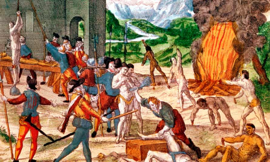 An engraving depicting conquistadors torturing natives of Florida in their determination to find gold.