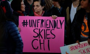 Protestors demonstrate against United Airlines in Chicago