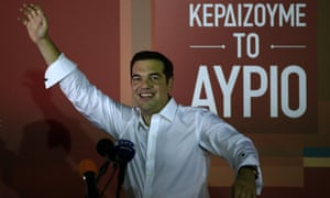 Alexis Tsipras, waves to his supporters after his general election victory in Athens.