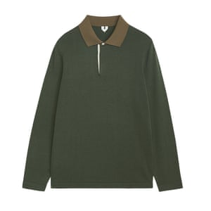 khaki long sleeved polo shirt Arket