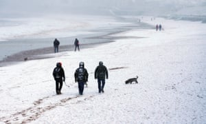 Snow on the beach at Whitley Bay, North Tyneside