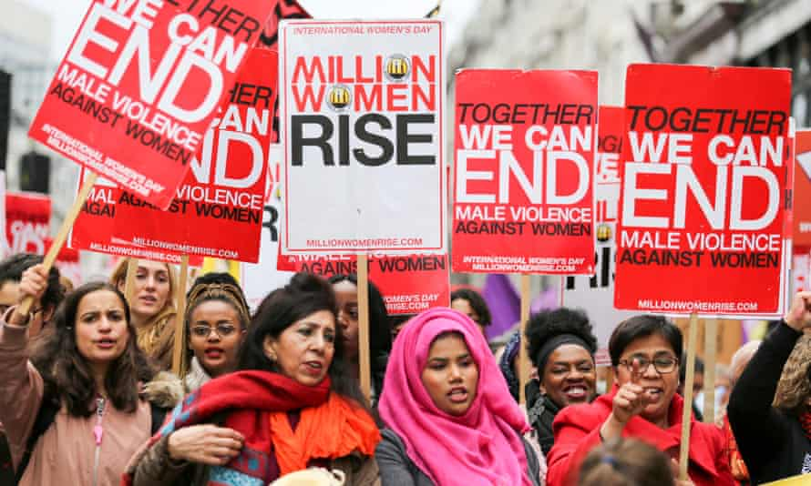 A march in London protesting at domestic violence against women and children.