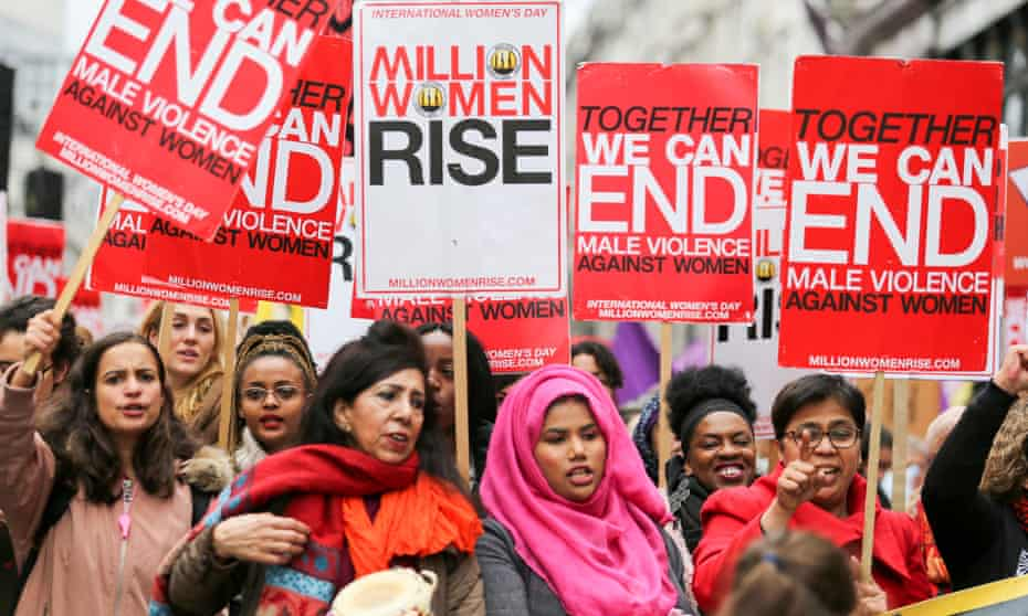 Women and children march in London in 2018 against male violence