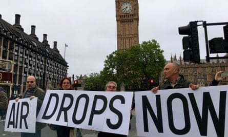 Campaigners in London on Wednesday demanding airdrops of aid to Syria.