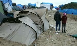 Children in the Calais refugee camp