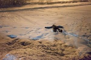 A child plays on the frozen Semenovskoye lake