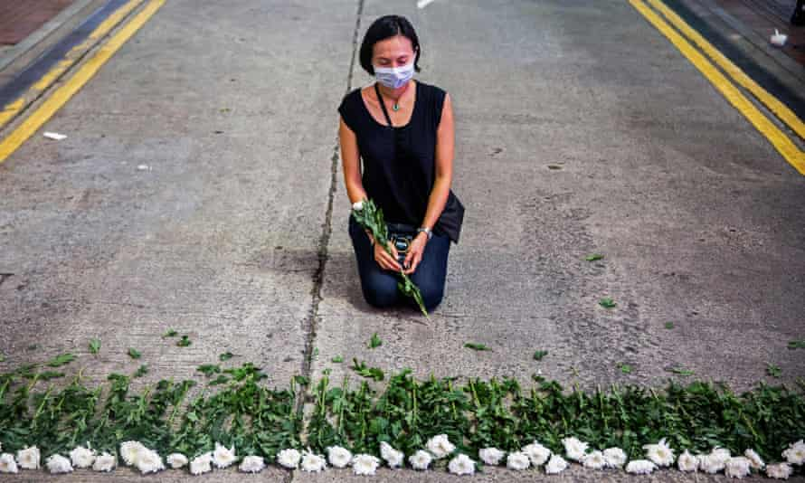 An artist takes part in a performance in Hong Kong on Thursday to mark the Tiananmen Square crackdown anniversary.
