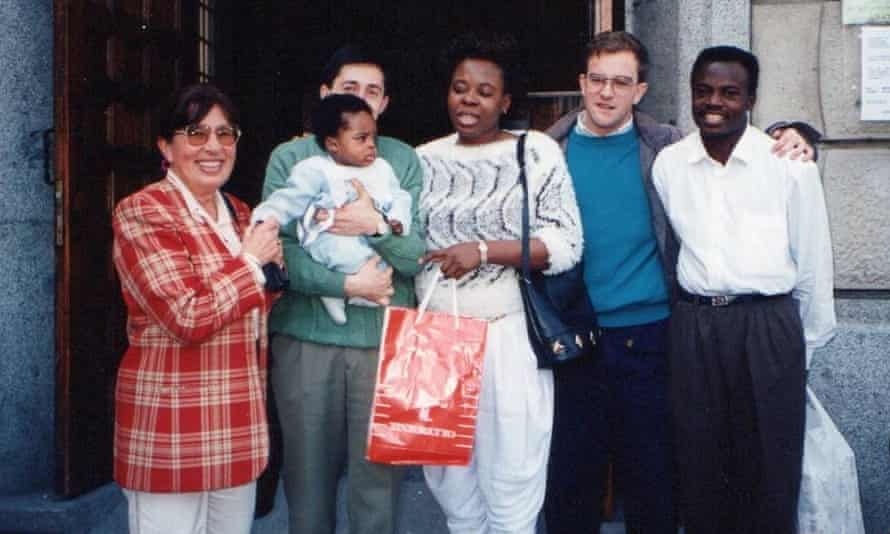 Iñaki Williams as a child with his mother, Maria (centre) and his father Felix (far right). Iñaki Mardones (second right), from whom Williams got his name, is the priest who helped the family upon their arrival in Spain.