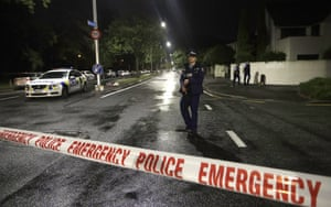 A police officer on patrol at a cordon in central Christchurch