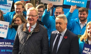 Scottish Conservative interim leader Jackson Carlaw (left) with the candidate for Perth and North Perthshire, Angus Forbes, at the launch of the Scottish Conservatives general election campaign in Perth.