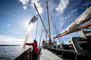 Greenpeace's ship, the Beluga II, samples seawater for microplastics.