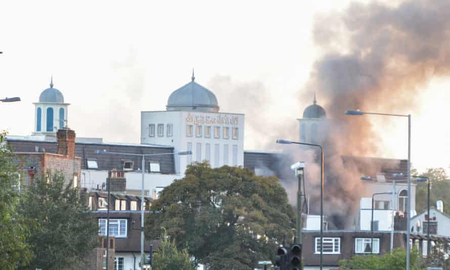 The fire at Baitul Futuh mosque.