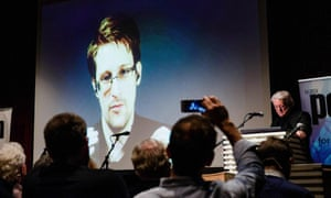 Edward Snowden, is seen live from Moscow, at the Norwegian PEN event 'Waiting for Snowden' in Oslo on 18 November 2016.