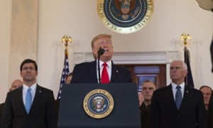 Donald Trump delivers remarks on the Iraqi-Iranian situation at the White House on Wednesday.