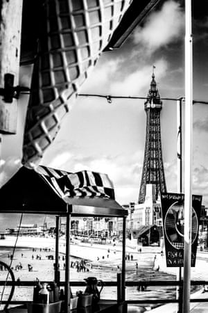 Hot-dog stand with Blackpool tower in the background