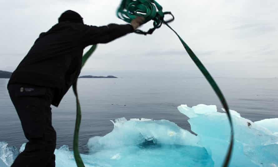 Ice being lassoed at Nuuk, Greenland for Olafur Eliasson and Minik Rosing's Ice Watch Paris.