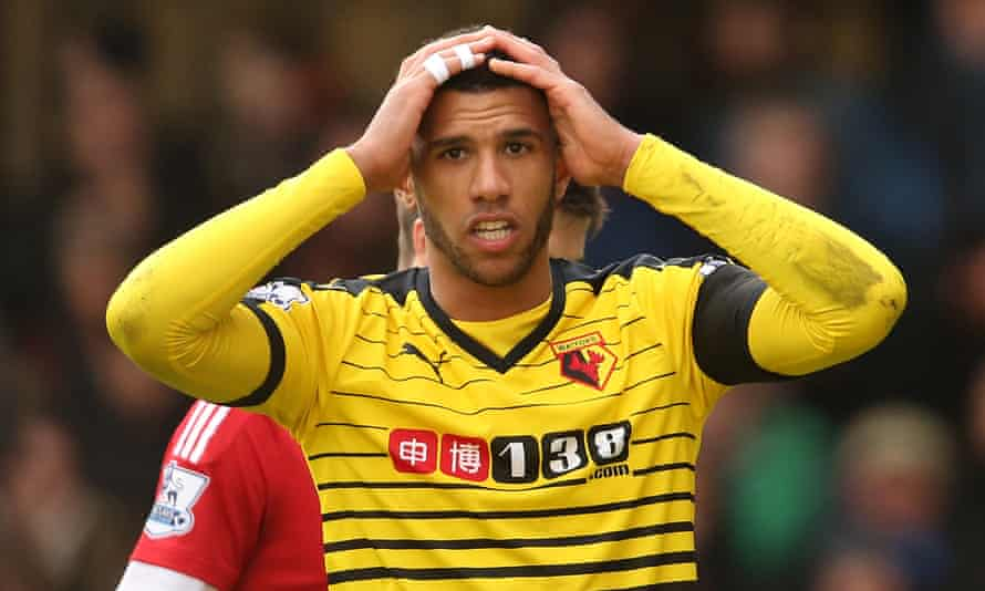 Etienne Capoue of Watford reacts after going close with a shot against Manchester United at Vicarage Road.