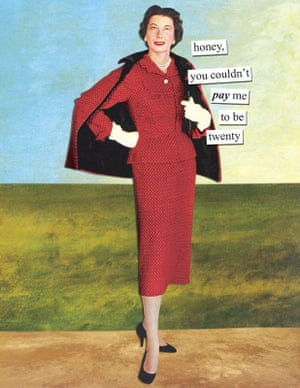 Birthday card with woman in retro suit and the phrase honey, you couldn't pay me to be twenty