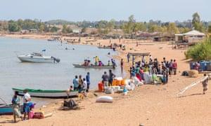 Passengers waiting for the MV Ilala on the shore of Lake Malawi