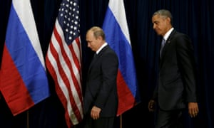 Barack Obama and Vladimir Putin before a meeting at the UN General Assembly in 2015.