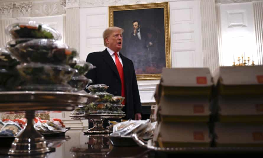 Lincoln looks on as Donald Trump presents a table full of fast food in the State Dining Room of the White House, in January.