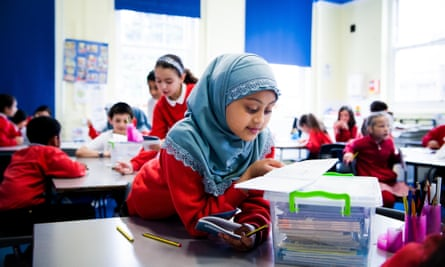 Muslim schoolgirl in class, London