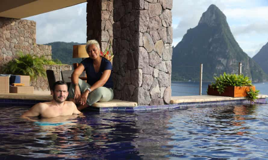 Island life … Giles Coren and Monica Galetti at the Mountain Hotel in St Lucia.