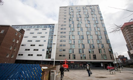 The Kaplan Residence block on Maid Marion Way, Nottingham, which has a similar cladding to that used on Grenfell Tower.
