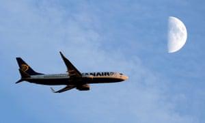 A Ryanair plane in flight.