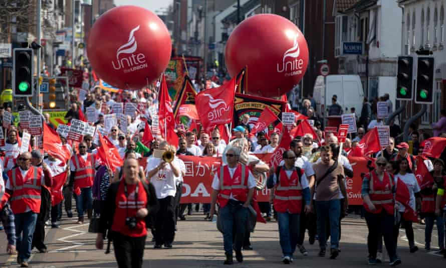 A march in Swindon against the closure of the factory.