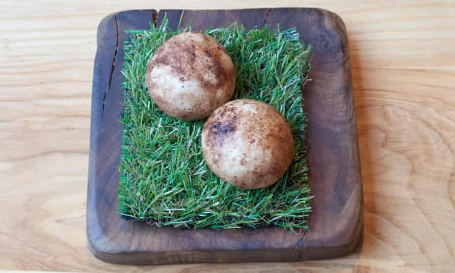 'Some dumplings are presented on small squares of AstroTurf, which is a little odd': mushroom buns.