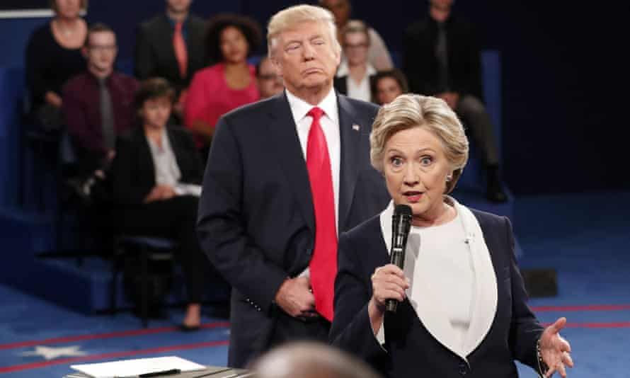 Hillary Clinton and Donald Trump during the second presidential debate at Washington University in St Louis, 9 October 2016.