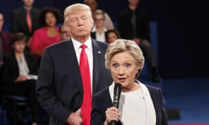 Hillary Clinton and Donald Trump at the second presidential debate in 2016.