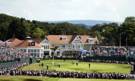 A general view of the 18th green and clubhouse at Muirfield.