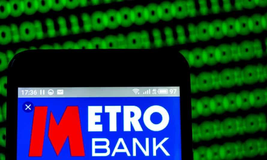 Metro Bank logo displayed on a mobile phone