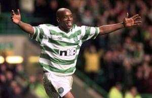 Ian Wright scores for Celtic v Kilmarnock, 30 October 1999.