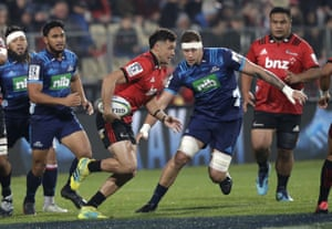 Crusaders' David Havili runs at the Blues defence during their Super Rugby match in Christchurch, New Zealand.