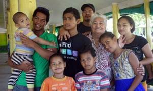 Losite (far right) with members of her family in Funafuti, Tuvalu.