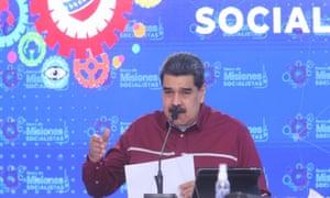 Venezuelan President Nicolas Maduro delivering a speech in Caracas